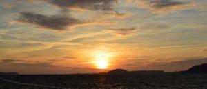 Sonnenuntergang an der Having im Ostseebad Baabe auf der Insel Rügen direkt am Meer