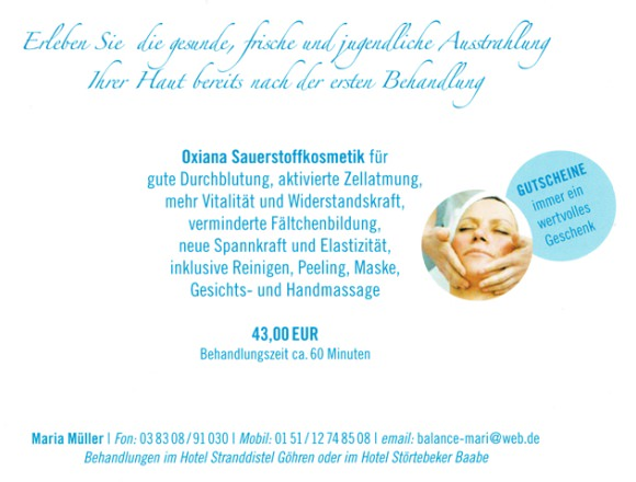 Wellness im Ostseebad Göhren auf der Insel Rügen – Sauerstoffkosmetik Oxiana