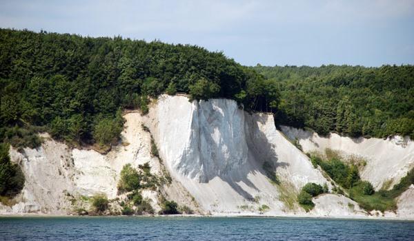 Kreidefelsen im Nationalpark Jasmund auf der Insel Rügen mit Buchenwald an der Ostseeküste